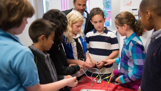 Conant Elementary students demonstrate Maker kits funded by the BHS Foundation.