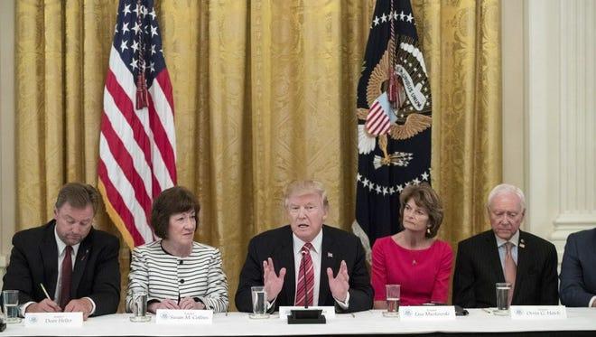 President Trump meets with senators on June 27, 2017.