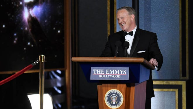 Sean Spicer at the Emmy Awards, Los Angeles, Sept. 17, 2017