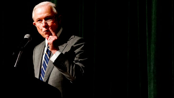 Attorney General Jeff Sessions speaks to the crowd at the Law Enforcement Training Conference at the Gatlinburg Convention Center in Gatlinburg, Tenn., on Tuesday, May 8, 2018.