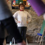 Dottie Hadijpetros, 81, of Randolph participates in the Heathy Bones program, an excerise program run by Senior Resource Center, which she once taught, at Church of the Messiah in Chester.