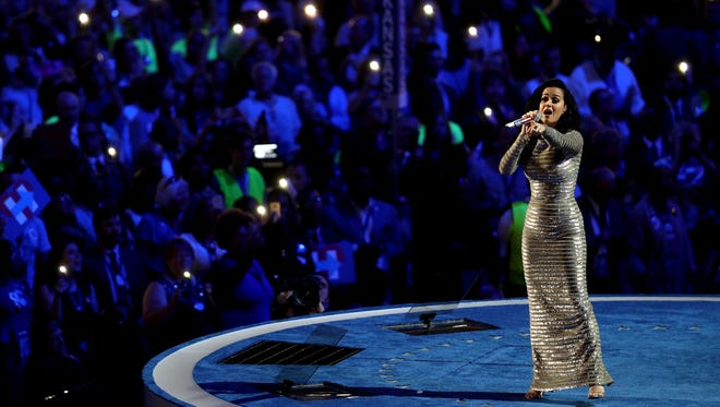 Katy Perry performs during the fourth day of the Democratic National Convention at the Wells Fargo Center, July 28, 2016 in Philadelphia, Pennsylvania.