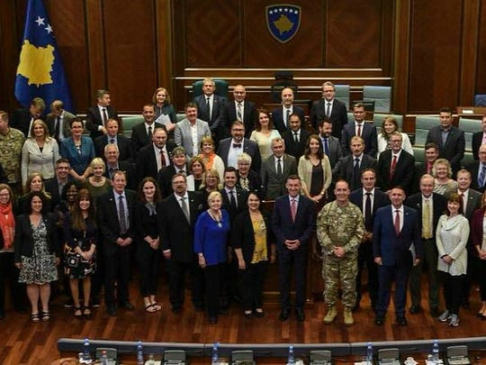 The Iowa delegation visits the Republic of Kosovo's House of Parliament following a state of the republic briefing.