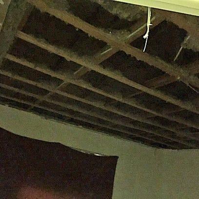 Ceiling collapsed at Oak Ridge Apartment complex.