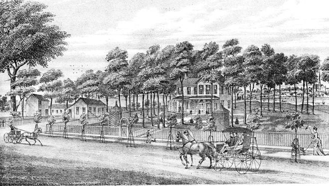 Captain Young House, Morrison Road, 1874.  A Civil War veteran, Captain A. Young built this fine Greek Revival home shortly after coming home from the war.  To the right of the house a train can be seen crossing the Sandusky River in this lithograph from the 1874 county atlas.  The house still stands today beside the RR track and bike trail just north of the camel-back bridge on the west side of Morrison Road.