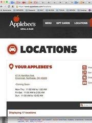The doctored Applebee's website.