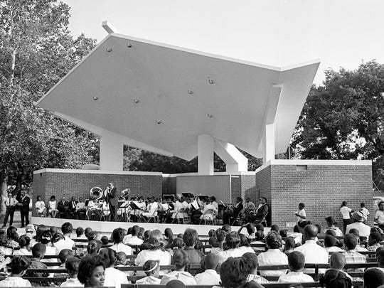 A huge throng greets the Washington Junior High School Band at the first Hadley Park Concert in the new concert arena June 5, 1966. Master of Ceremonies Don Q. Pullen, at the microphone, makes the introduction during dedication ceremonies for the $35,000 structure.
