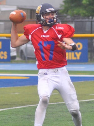 Rutherford quarterback Tom Reid took almost all the snaps for the South team at the Bergen County All-Star game.