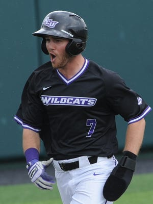 ACU's Derek Scott reacts after scoring on Robert Salazar's double in the fifth inning. Scott, who started the game in left field, hit a two-run single in the inning. He also retired all three batters he faced in the ninth for his first collegiate save in a 6-5 victory over New Orleans on Saturday, March 17, 2018 at Crutcher Scott Field.