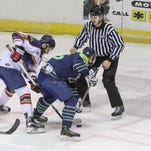 Pensacola's Adam Pawlick, right, and Peoria's Mike Gurtler face off Sunday afternoon at the Pensacola Bay Center.