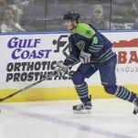 The Ice Flyers Joey Holka, shown playing against Peoria when the teams met in mid-March in Pensacola, became the latest overtime hero with his deciding goal last night in Game 1 of the SPHL Presidents Cup Finals at Peoria.