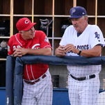 Wahoos Pitching Coach, Danny Darwin, right, chats with Jeff Fassero, Cincinnati Reds' roving pitching instructor, on Wednesday night while the Wahoos play the Birmingham Barons.