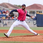 Pensacola's Amir Garrett pitches against the Birmingham Barons on Sunday afternoon at Blue Wahoos Stadium.