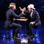"""THE TONIGHT SHOW STARRING JIMMY FALLON -- Episode 0148 -- Pictured: (l-r) Actor Bradley Cooper and host Jimmy Fallon play """"Egg Russian Roulette"""" on October 17, 2014 --"""