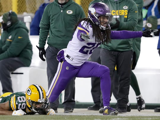 Minnesota Vikings cornerback Trae Waynes reacts after breaking up a pass intended for Green Bay Packers wide receiver Michael Clark on Saturday, December 23, 2017 at Lambeau Field in Green Bay, Wis..