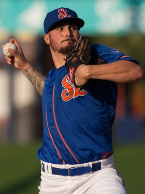 The St. Lucie Mets' Andrew Church pitches in the first inning of their game against the Palm Beach Cardinals Thursday, April 6, 2017, at First Data Field in Port St. Lucie.
