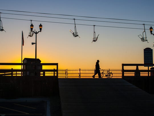 Seaside Heights' Sky Ride as the sun sets.