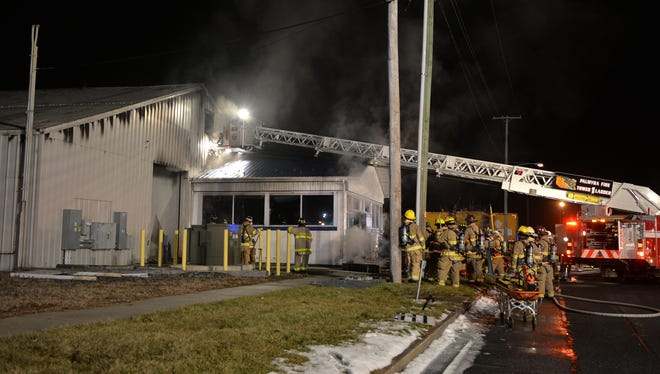 Fire swept through a Palmyra feed mill, located at 475 E. High Street on Sunday evening, January 21, 2018.