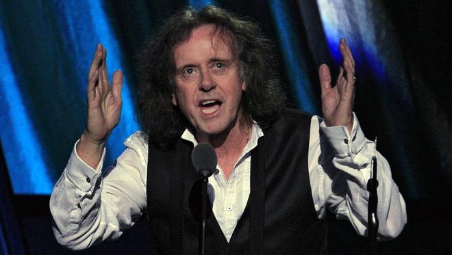 Donovan, shown being inducted into the Rock 'n' Roll Hall of Fame, will begin a 50th anniversary tour of America this month.