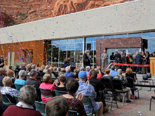 Confetti falls on dignitaries and spectators Nov. 4, 2016, as Tuacahn Center for the Arts celebrates the opening of its new Arts Center in Ivins City.