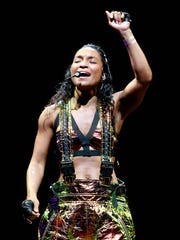 TLC perform on tour with New Kids on the Block at Gila