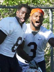 UTEP middle linebackers Johnny Jones, left, and Dante
