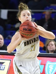 Dresden's MiKayla Peterson pulls up for a three pointer