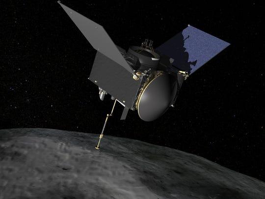 An artist rendering of the OSIRIS-REx spacecraft, showing