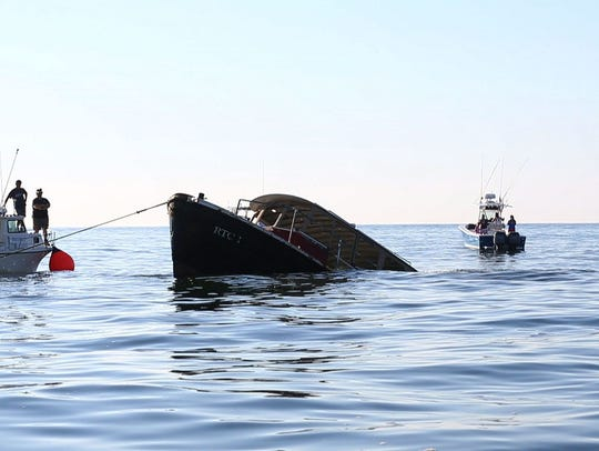 A 65 foot, former NY Harbor boat was sunk in 70 feet