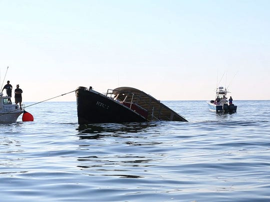 A 65 foot, former NY Harbor boat was sunk in 70 feet of water on the Axel Carlson artificial reef 2 miles off Pt. Pleasant. It will provide habitat for sea life and recreational opportunities for fishermen. —August 9, 2016 -Pt. Pleasant, NJ.-Staff photographer/Bob Bielk/Gannett NJ
