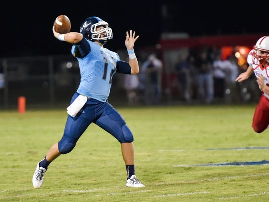 Quarterback Sean-Michael Brady as the Ascension Blue Gators take on the Trojans from East Beauregard. September 2, 2016