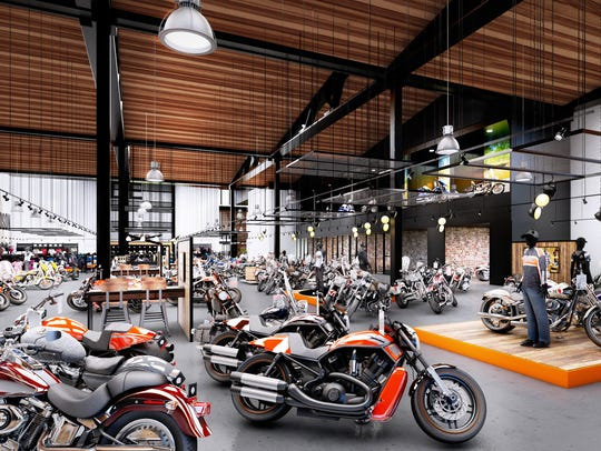 A rendering of the inside of Rommel Harley-Davidson's