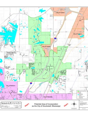 The petition map of the proposed incorporated area of Gluckstadt.