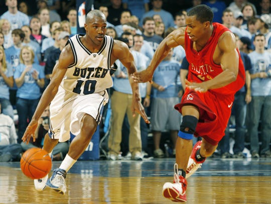 Butler's Mike Green (left)
