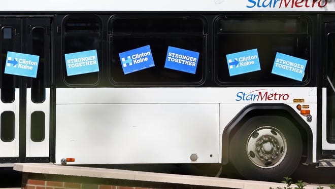 This city of Tallahassee StarMetro bus, decorated with Hillary Clinton campaign signs, was staged behind the lectern at a Monday rally featuring Vice President Joe Biden and his wife Jill.
