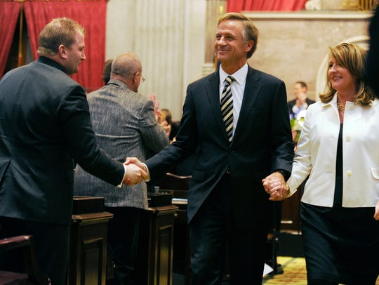 Gov. Bill Haslam and first lady Crissy Haslam leave
