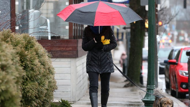 Deanette Pierce, of Hyde Park, shields her face from the rain as she walks her dog, Floyd, along Edwards Avenue, Friday, Jan. 12, 2018, in Hyde Park.