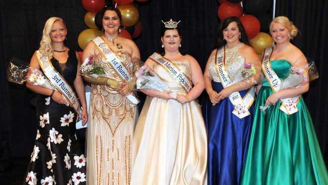 3rd Runner- Raeleigh Richards,  First Runner-Up Annslea Schaber, Miss Marion Popcorn 2017 Kaylee Wallace, Second Runner-Up Emily Christman, and Fourth Runner-Up Ashley Keener.