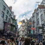 The dragon greets visitors to the Wizarding World of Harry Potter by breathing fire at regular intervals throughout the day.