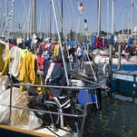 Mackinac boats recovering for the race, storms