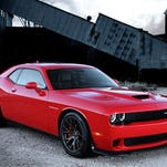 The 2015 Dodge Challenger SRT Hellcat at the drag strip.