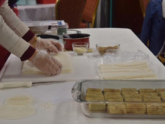 Preparing the baklava.