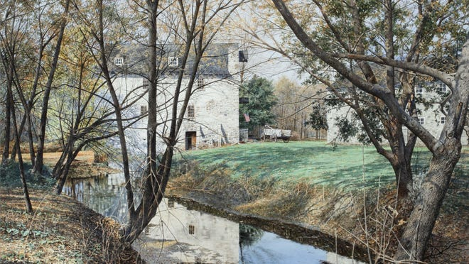 """""""The Mill - Wyeth Farm,"""" Merv Corning, 2001. Watercolor on paper. On loan from The Westmoreland Museum of Art."""