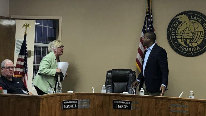 Lake Worth Beach Mayor Pam Triolo gets into a heated argument with Commissioner Omari Hardy during Thursday's city commission meeting.