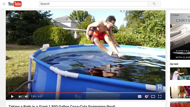 YouTube user TechRax shared a video on youtube of a 1500 gallon above ground pool that he and his friends filled with Coca-Cola.