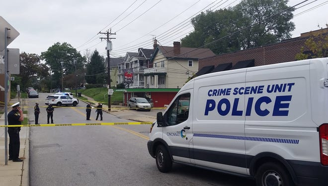 Scene of a fatal stabbing near Oakley Square Thursday afternoon.