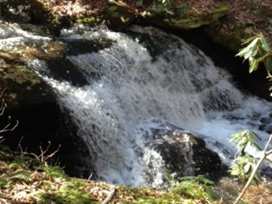 Grassy Branch Trail includes some small waterfalls.