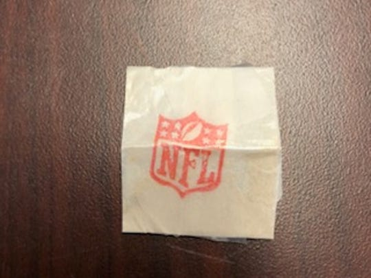 This example of a heroin stamp was found along with