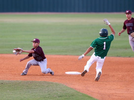 Falfurrias' Royce Carrera steals second as the ball
