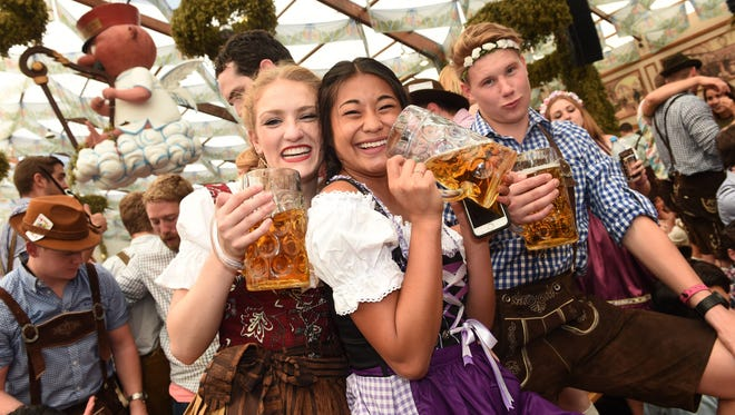 In the Hofbraeu tent at Oktoberfest in Munich, Germany, Sept. 24, 2016. The 183rd edition of the annual folk and beer festival runs from Sept 17 to Oct 3. and is expected to attract once more several millions of visitors from all over the world.